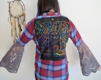 Lace Bell Sleeve Grateful Dead Plaid Soft Upcycled Bell Sleeve Tunic Tee Shirt Top Womens Festival OOAK Size Small