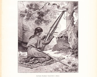 1882 Native American Indian Print - Navajo Woman Weaving - Antique Art Illustration Book Plate History Archaeology Ethnology 100 Years Old