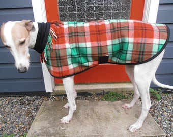 plaid in red and green...winter coat for a greyhound or lurcher in vintage wool blanket and polar fleece