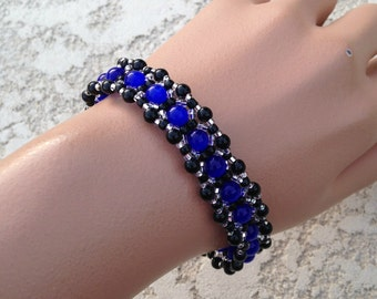 Bracelet - Sapphire Blue, Black, and Silver - Metal Free