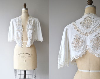 Edwardian lace bolero | antique 1910s jacket | cotton tatted lace antique shrug