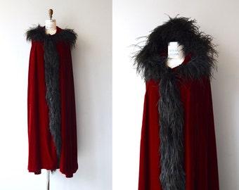 Melpomene velvet cloak | vintage 1950s velvet cape | ostrich fur 50s cloak