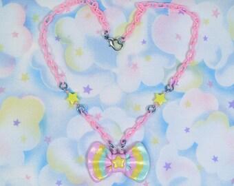 Fairy Kei necklace - pastel rainbow bow and stars