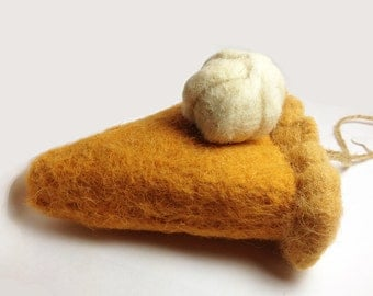 Felted Wool Pumpkin Pie Slice Ornament with Jute String