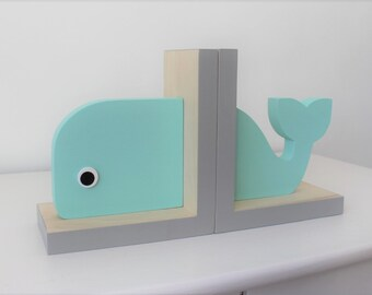 Whale Bookends,Aqua and Gray, Nautical Room, Nautical Nursery, Nautical Baby, Beach Bookends, Nautical Kids, Whale Baby, Wooden Whale