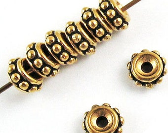 TierraCast Pewter Beads-GOLD BEADED SPACER 6mm (10)