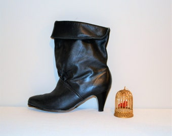 Vintage Black Pirate Leather Boot