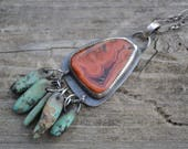 TeePee Canyon, South Dakota Agate, Fairburn Agate Sterling Silver Pendant