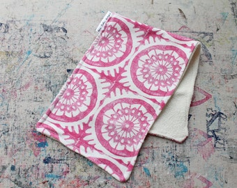 Hand-Blocked Print Organic Knit Burp Cloth Bamboo Terry Cloth Pink Berry Baby Girl Shower Gift