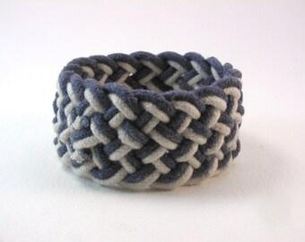 navy two strand rope bracelet soft cotton cuff bracelet turks head knot nautical bracelet slip on bangle 4051