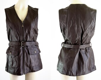 70's Otello Pelle Brown Leather Belted Woman's Vintage Vest