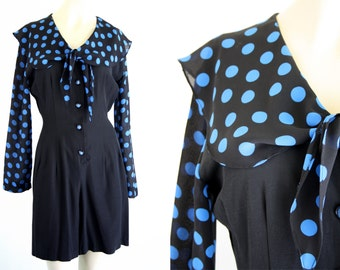 Rampage Polka Dot Black and Blue Sailor Style Long Sleeve Shorts Woman's 90's Vintage Romper Jumpsuit