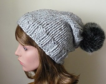 Knit Slouch Hat Faux Fur Pompom Warm Wool Blend Winter Hat in Great Marble  with Black Cat Pompom - Ready to Ship - Direct Checkout