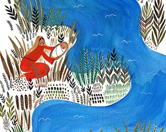 "The Baby in the Basket - Moses (Limited addition art print from ""Stories from the Bible"")"