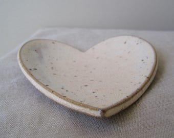 Creamy White Ceramic Heart Dish, Jewelry Holder, Ceramic Catch All, Heart Dish, Ring Dish, Jewelry Storage, Stocking Stuffer