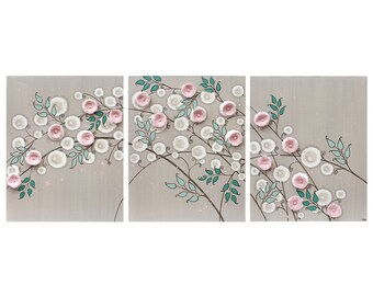 Baby Nursery Art Canvas Painting Triptych - French Gray and Pink Flowers - Large 50X20
