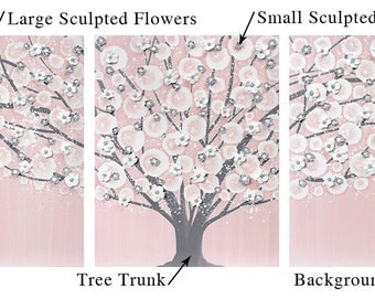 Custom Nursery Wall Art for Baby Girl - Choose Your Colors for Tree Painting on Canvas  - Large 50x20
