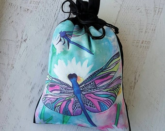 Dragonfly Purse - Black Silk Pouch - Small Drawstring Pouch - Sock Knitting Bag - Knitting Project Bag - Dragonflies Purse - Oracle Deck Bag