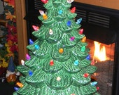 "Ceramic Lighted Old Fashioned Christmas Tree 20"" tall      Ready to ship          Table Top Holiday Decoration"
