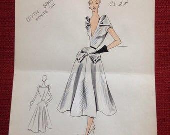 "Vintage 1950s edyth sparag fashion sketch illustration pen ink 8.5""x11"""