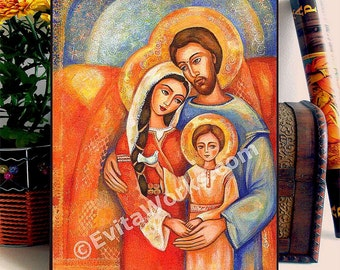 Icon Painting, Holy Family Christian Religious Folk Art Icon Mary and Joseph Little Jesus, home decor, woman art, ACEO wood block, CH