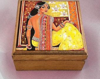 Bharat, Indian woman art art box, Indian decor, Goddess art, feminine beauty, keepsake box, jewelry box, 3.5x3.5+