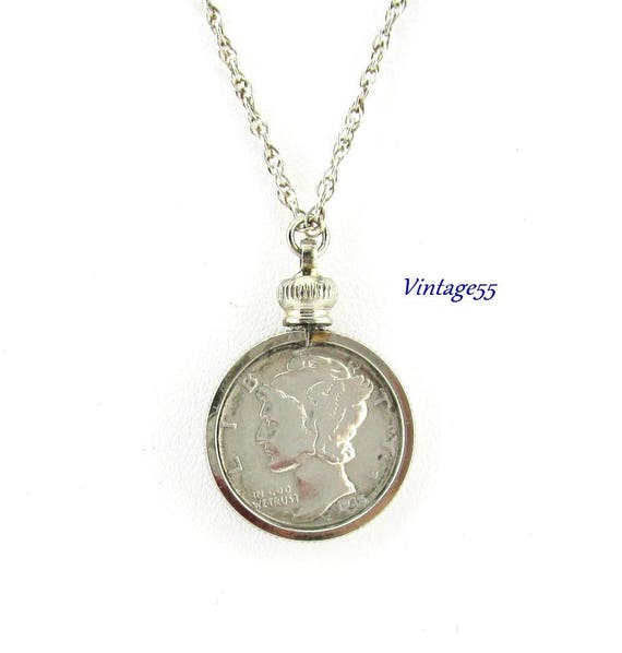 coin necklace mercury dime 1935 sterling chain