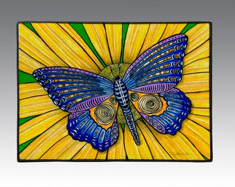 "Butterfly on Sunflower, 18"" x 24"" Door Mat, Floor Mat, Home Decor,"