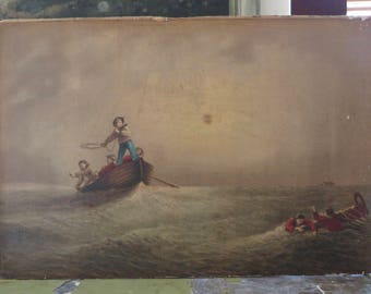 Antique Oil Painting Ship Wreck w/Life Saving Station Crew Rescuing Stranded Sailors/Possible Artist Study