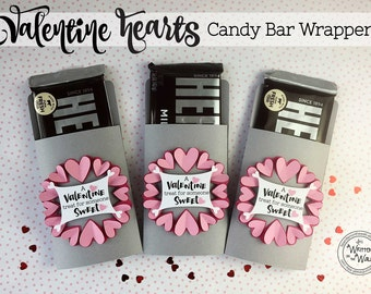 KIT Valentine Hearts Candy Bar Wrappers / Hershey Bar Wraps / Teacher Appreciation /Valentine Gift / Valentine Candy Bar Wraps / Sweetheart