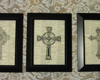 "Religious Holy Crosses on Vintage Dictionary Page Prints - Set of 3 - 5"" x 7"""