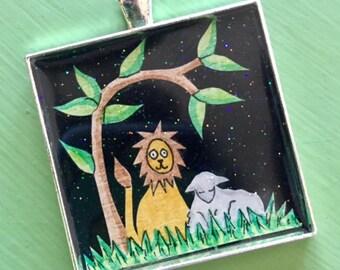 Papercut Lion and Lamb Resin Pendant Handcut Peaceable Kingdom