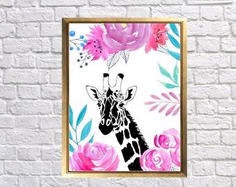Nursery Art Giraffe Print, Watercolor Giraffe Nursery Decor, Children's Room, Girl Safari Nursery, Pink Purple Turquoise
