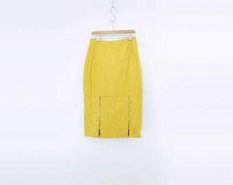 Yellow Leather Skirt Vintage Midi Skirt Leather Pencil Skirt Leather Midi Skirt High Waist Skirt Canary Yellow Skirt m