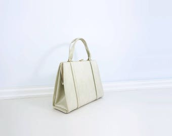 60s White Handbag Vintage Kelly Bag 60s Top Handle Purse White Top Handle Bag Off White Frame Bag Large White Handbag Vintage White Purse