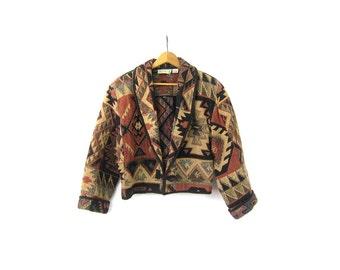 Tribal Print Thick Cotton Jacket Tan Black Cropped Coat Ethnic Southwestern Open Jacket Boho Hippie Vintage 90s Women's Medium