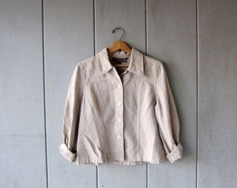 Vintage HEMP Jacket Oatmeal Button Up Cropped Jacket Minimal Natural Shirt Jacket Modern Spring Hemp Jacket Womens Medium