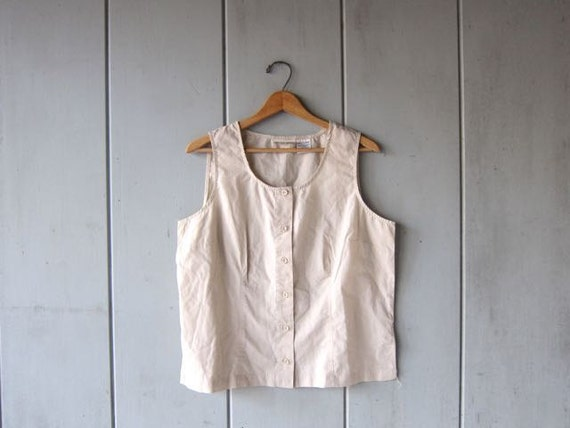 80s Basic Tank Top Natural Beige Boxy Tank Button Up Simple Boho Tshirt Minimal Blouse TOp Hipster Vintage Shirt Womens Large