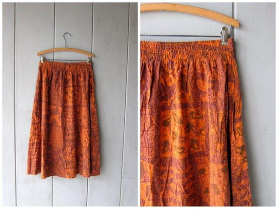 Vintage Ethnic Midi Skirt Orange Purple Batik Patterned Skirt Graphic Abstract Skirt with POCKETS Boho HIpster Tribal Womens Medium Large