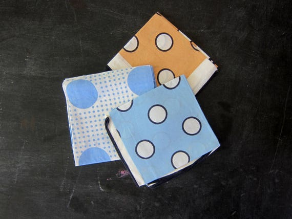 Vintage Head Scarves Rockabilly Scarf Bandana Collection Blue White Polka Dots Hankies Collection Polka Dotted Pin Up Girl wraps