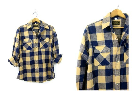Buffalo Check Plaid Shirt Flannel Blue & Tan Lumberjack Button Down Grunge Vintage Mens Rugged Work Shirt Unisex Medium