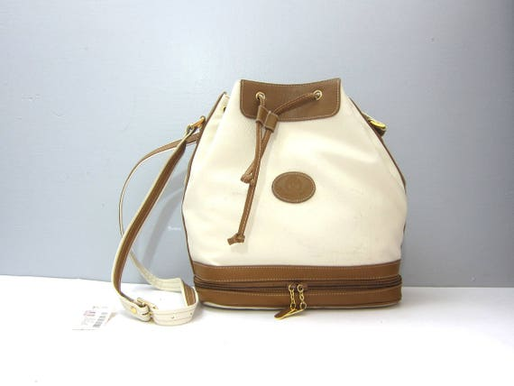 Vintage Crossbody Purse Modern Cross Body Bucket Bag Purse 90s Basic Brown & White Simple Preppy Purse Drawstring Purse