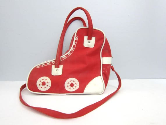Vintage Red Roller Derby Bag Roller Skate Carrying Case Tote Roller Skating Travel Duffel Bag Retro 1980s Suitcase GS