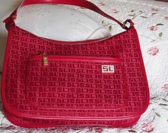 Vintage 1990s Monogram SL  Red  Bag Shoulder Old Fashion Pockets and with lots of Room