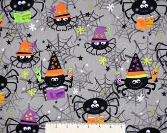 Halloween Fabric - Spooktacular Spider & Web Gray - Benartex Kanvas Studio YARD