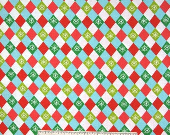 Christmas Fabric - Decorations Snowflake Argyle Red Green Blue - AE Nathan YARD