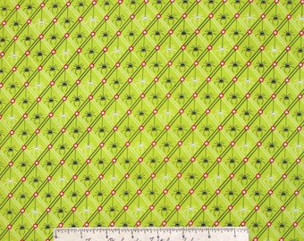 Halloween Fabric - Legend of Webb Hill Spider Diamond Green - Henry Glass YARD