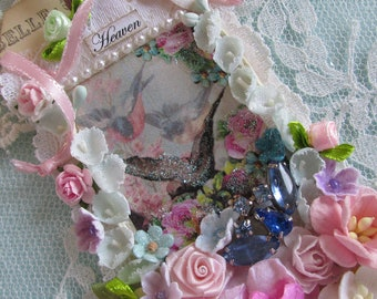 Handmade Gift Tag,  Embellished Art Tag, Extra Large Hang Tag,  Floral Gift Tag,  Bridal Gift Tag,  Wedding Tag,
