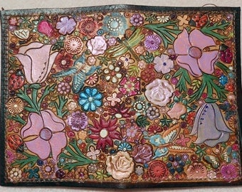 Brown Border Leather Card Wallet with Colorful Flower Garden Design