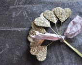 Vintage Wired Glitter Hearts - Glitter Wands - Assemblage - Mixed Media Supplies